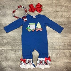 Baby girls boutique Christmas Train Romper
